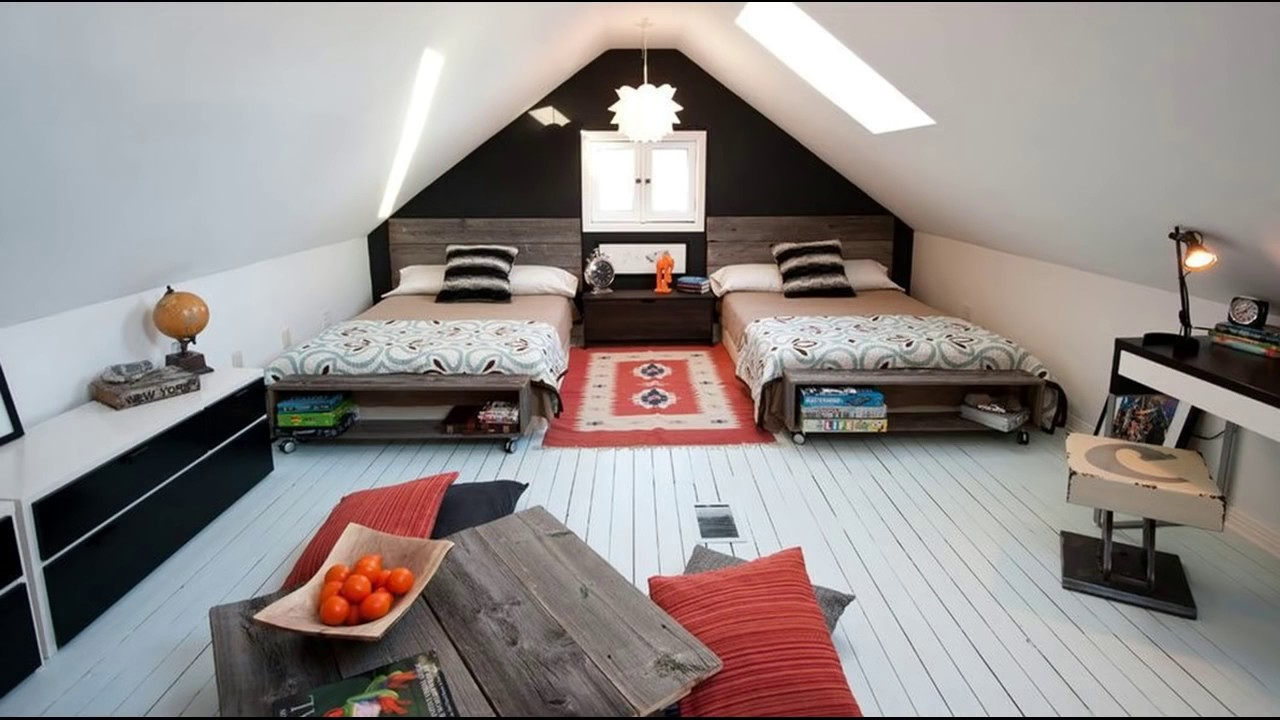cool twin bedroom design with double bed for teenage room room ideas