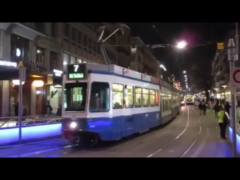 Switzerland: Zurich trams by night outside the Hauptbahnhof