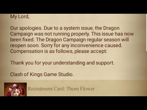 CLASH OF KINGS : DRAGON CAMPAIGN COMPENSATION?