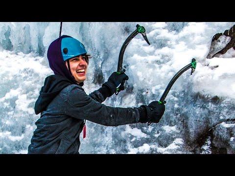 CLIMBING FROZEN WATERFALLS! w/ Sam, Colby, & Corey