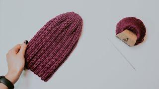 ШАПКА ТЫКОВКА КРЮЧКОМ. МК вязание шапки крючком для начинающих