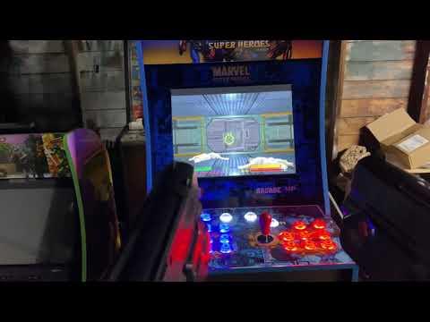 Marvel Super Heroes Arcade1up PC mod Dual Aimtrak light guns. from Retro Lizard's Custom Arcades