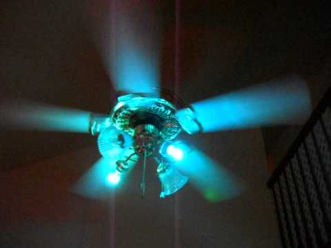 S V C Fan With Two Blue Light Bulbs And Red And Green