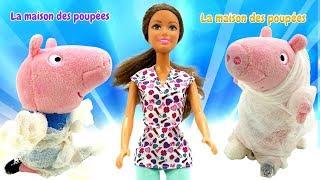 Peppa Pig et George jouent au docteur. Vidéo en français pour enfants