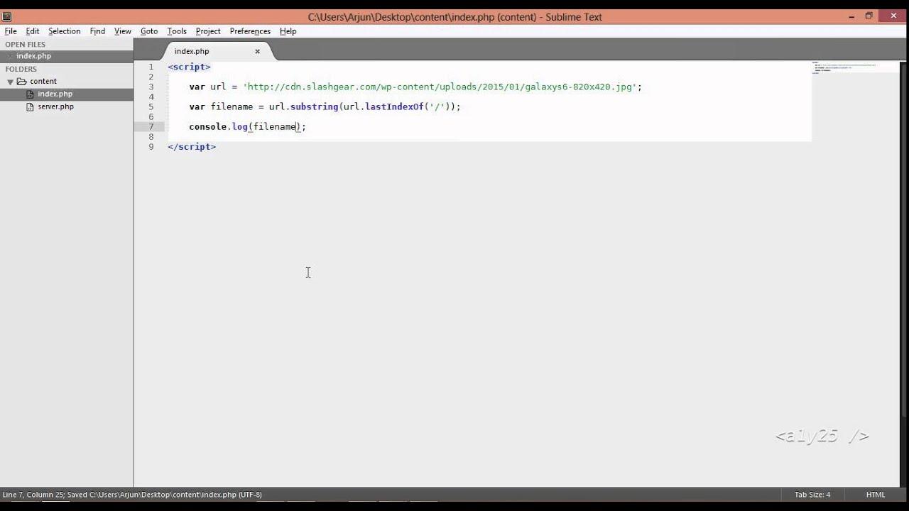 javascript   get filename from url using substr