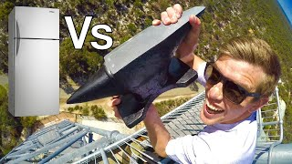 ANVIL Vs. FRIDGE! Crazy 45m Drop Test!!!