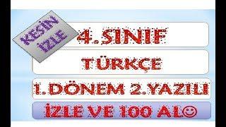 4.Sınıf Türkçe 1.Dönem 2.Yazılı Hazırlık 1-Yardımcı Öğretmen Video