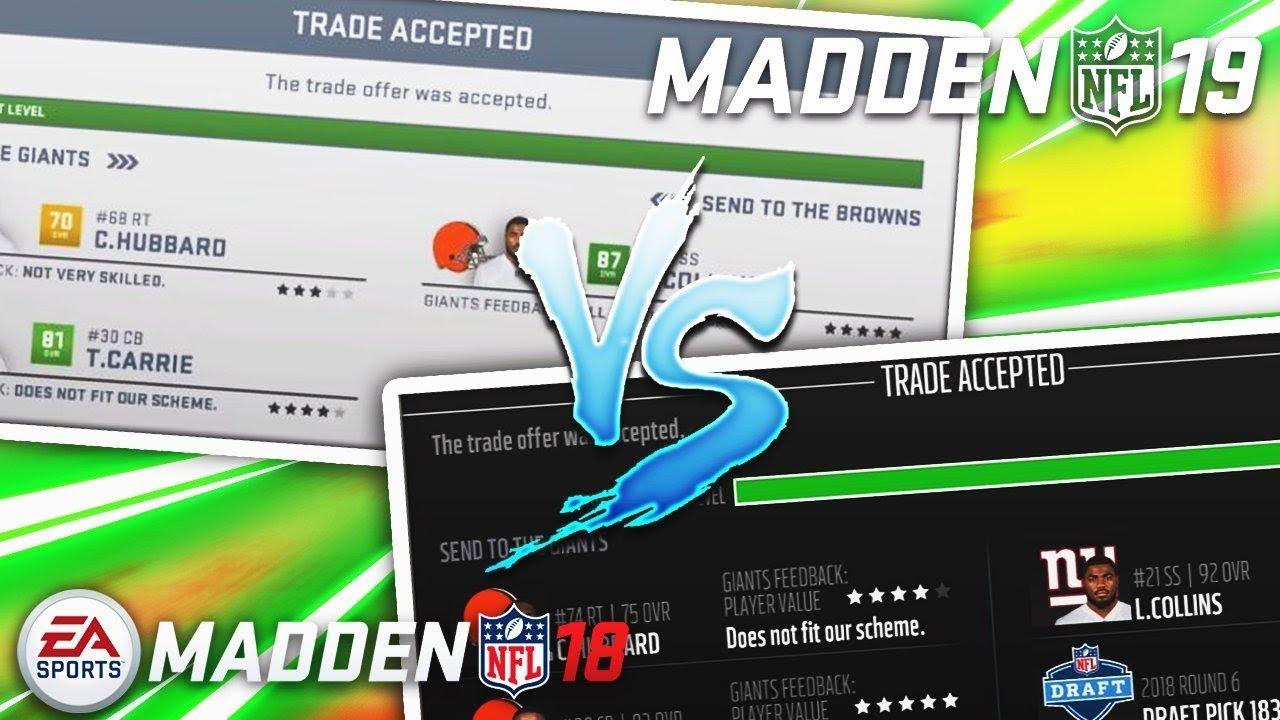 Madden 19 Trades vs. Madden 18 Trades
