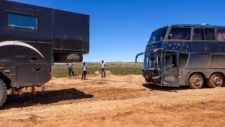 Bus of thief stuck in the morass • Expedition truck • World tour