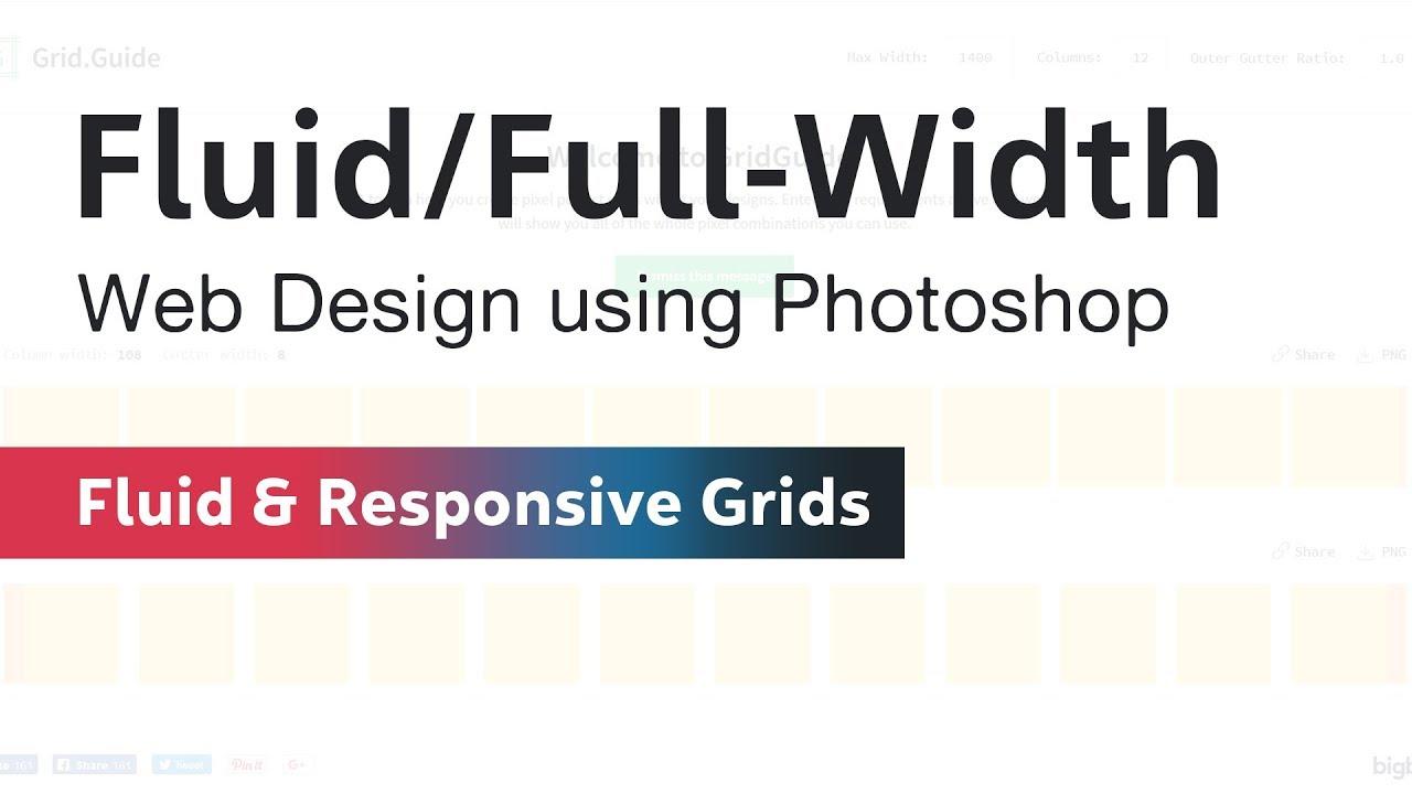 fluid design grid in photoshop for web design youtube