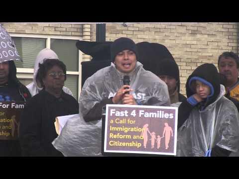 Cristian Avila of Mi Familia Vota Addresses Ohio Crowd During Fast for Families Across America Tour