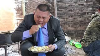 Eating wedding feast in Rural village Nepal-जोडतोडले भोज खाँदै
