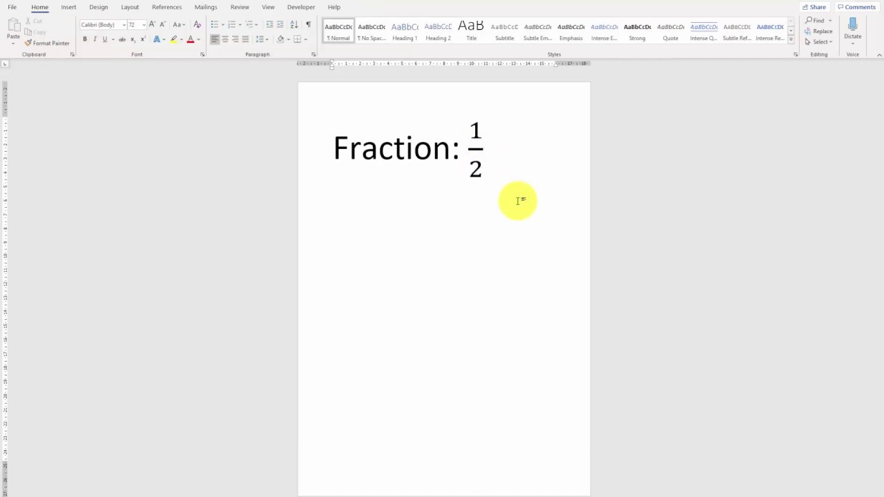 How to insert fractions?  Word 30