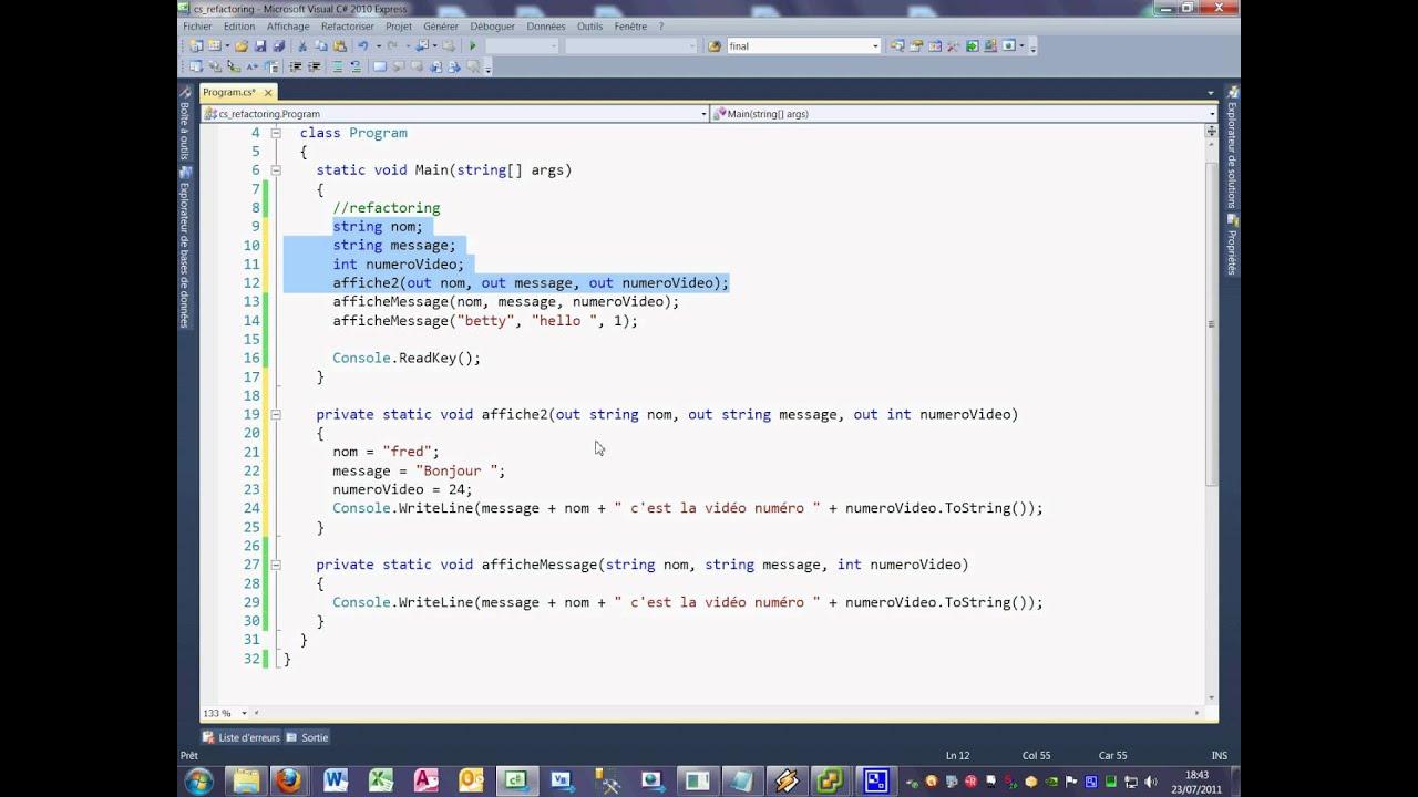 Tutoriel 24 refactoring en C# en français
