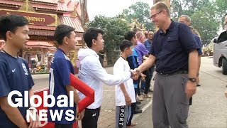 Thai soccer team reunite with some of the Australian divers who helped saved them from cave