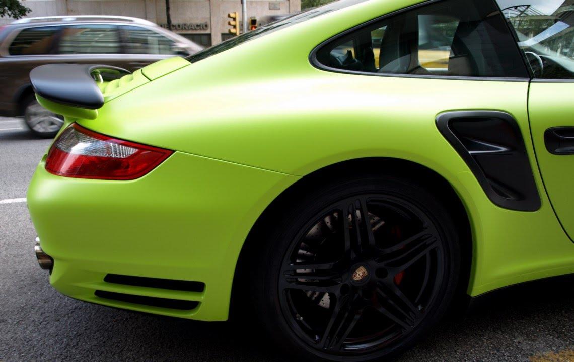 Porsche 911 Turbo De Gris A Verde Kiwi Mate Car Wrapping