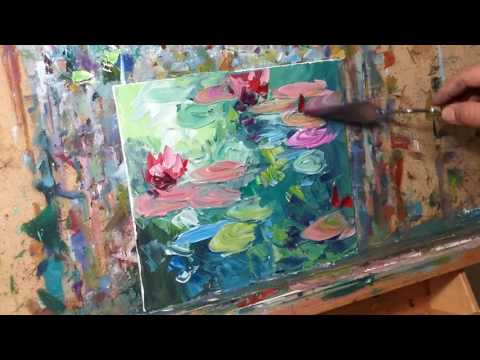 Impressionist Oil Painting Demo Tutorial of Waterlilies - Palette Knife Impasto by JOSE TRUJILLO