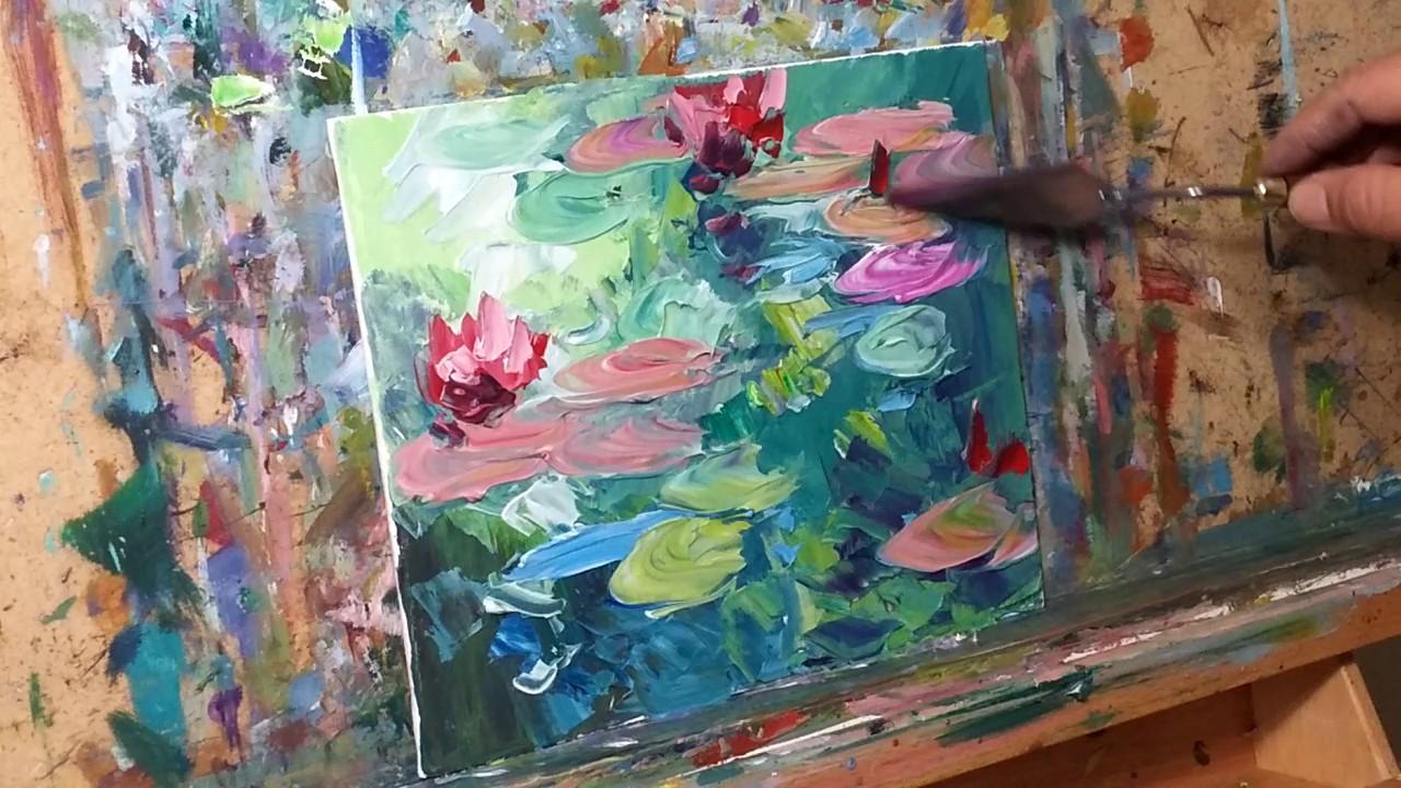 impressionist oil painting demo tutorial of waterlilies