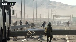 3 week miners' strike dispersed by tear gas and water cannons in Chile