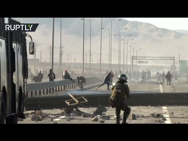 3-week miners' strike dispersed by tear gas and water cannons in Chile