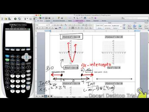3.9 Solving Quadratic Inequalities By Graphing