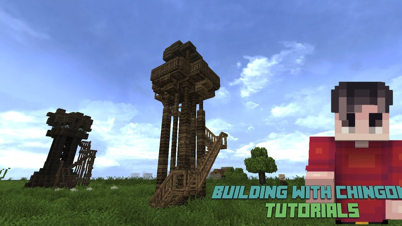 Minecraft Building With Chingom Wooden Watch Tower Tutorial