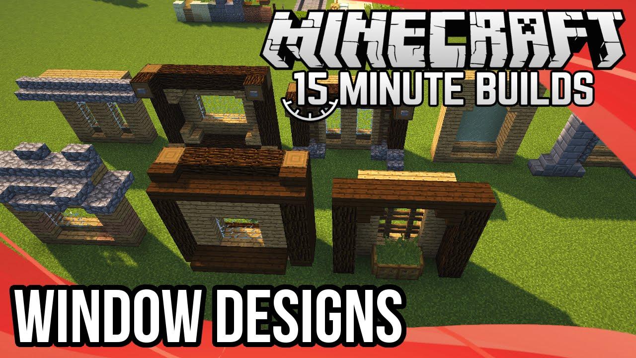 Minecraft 15 minute builds window designs youtube for Window design minecraft