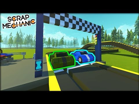 Starter Slot Car Race Track with AI Opponents! (Scrap Mechanic Gameplay)