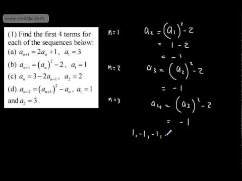 c1 sequences and series 1 recurrence relations and intro as maths core 1 youtube. Black Bedroom Furniture Sets. Home Design Ideas