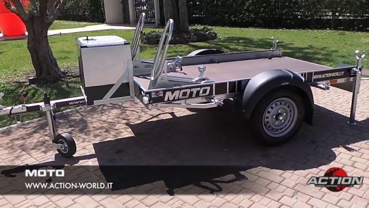Rimorchio trasporto moto 2 posti con box porta attrezzi e for 2 box auto con officina e soppalco