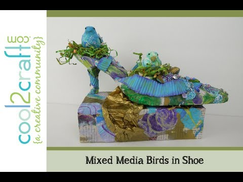 How to Make a Mixed Media Birds in Shoe Door Stop by EcoHeidi Borchers