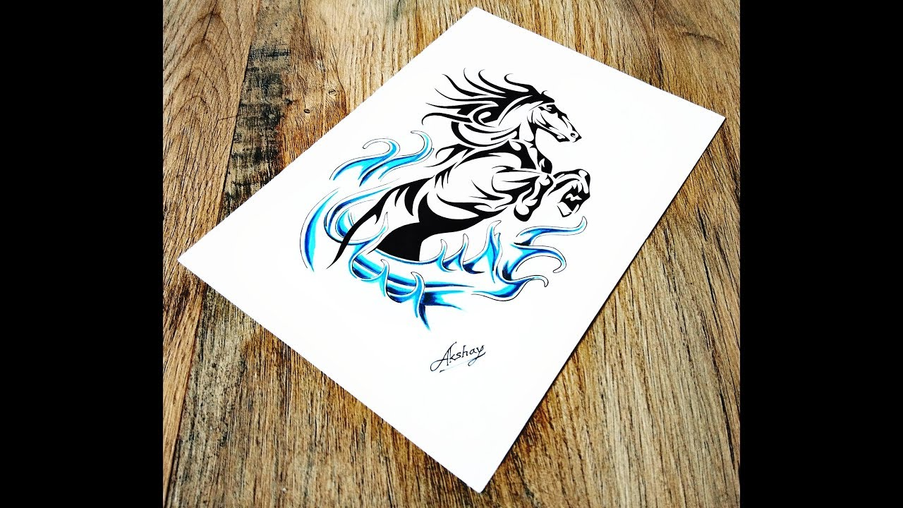 771baab7ced3f How to draw Tribal Horse - Tribal Tattoo Design Style - Art Maker Akshay