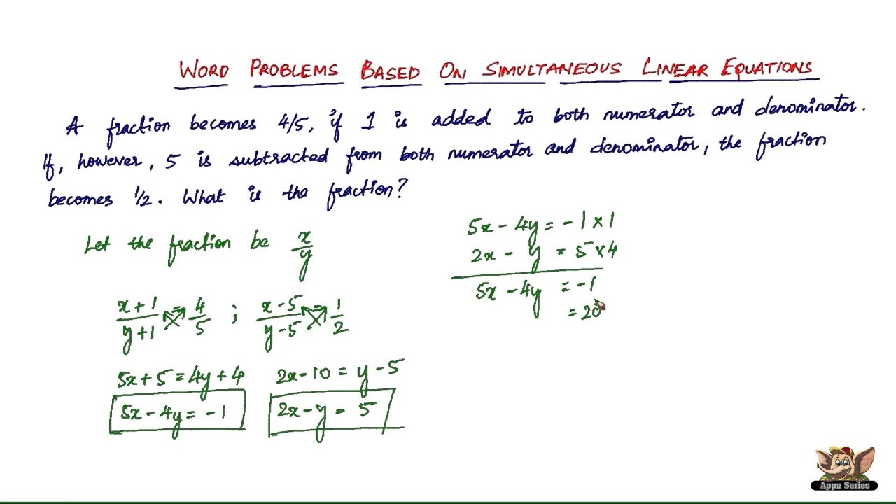 Solve Linear Equations Word Problems Online class 8