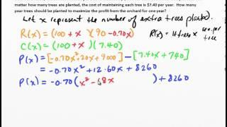 MCR3U Unit 2: Solving Quadratic Profit Questions
