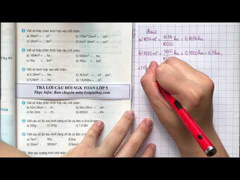 Giải bài 2 trang 47 (Viết các số đo diện tích dưới dạng số thập phân) SGK Toán 5