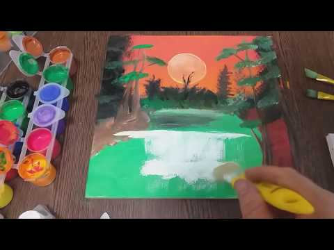 How to PAINT a Waterfall/Landscape with acrylic colors/Tutorial with Gumvis art