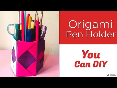 DIY Crafts: How To Make Origami Pen Holder, Paper Pencil Holder (Easy) | Decoration Ideas