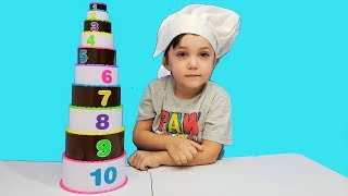 Zack Learn to Count numbers with toy Birthday Cake Stack Count 1-10
