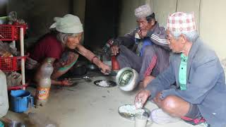 Cooking village food and eating together by family ll Primitive Technology ll Rural life