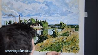 Art Reproduction (Pissarro - The Oise on the Outskirts of Pontoise) Hand-Painted Oil Painting