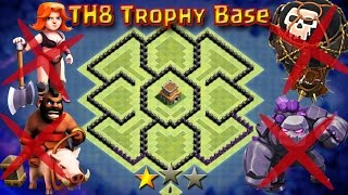 TH8 New Trophy Base 2017 | Anti 2star | Anti Dragon | Anti EVERYTHING