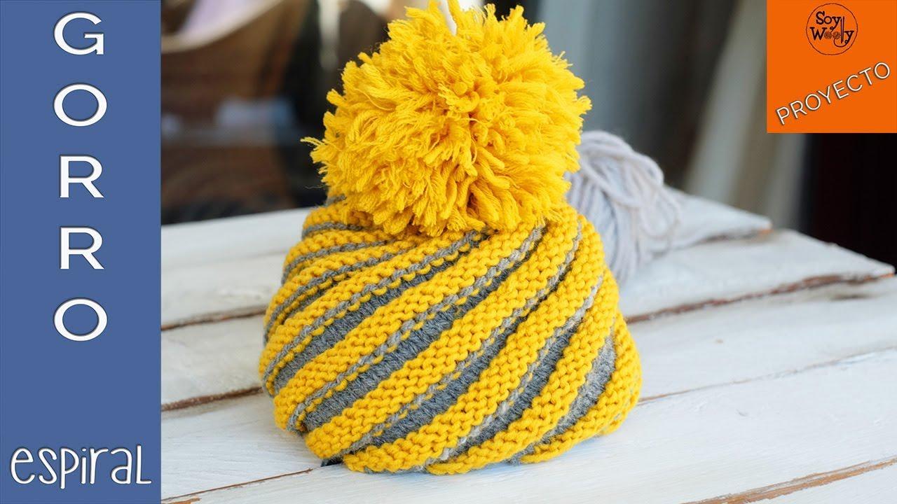 Gorro Espiral tejido en dos agujas (Todas las tallas) - Soy Woolly ... 674101cf7f7