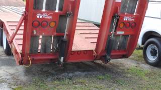 15 a 2003 Wallace 3 Axle Lowboy Heavy Equipment Trailer with Electric/Hydraulic Loading Ramps