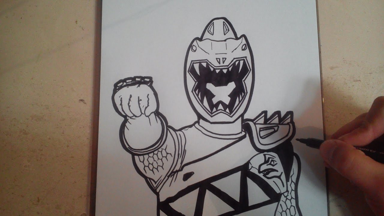 HOW TO DRAW POWER RANGER DINO CHARGE - SILVER / como ...