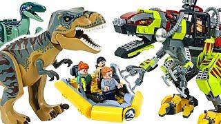 lego jurassic world trex vs robot dinosaur dino mech battle dudupoptoy