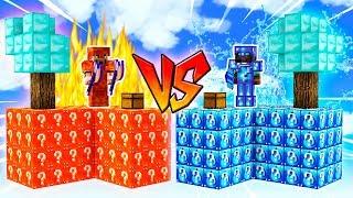 ¡BATALLA DE LUCKY BLOCKS SKYBLOCK! 😱💥 AGUA vs LAVA LUCKY BLOCKS! CARRERA MINECRAFT MOD