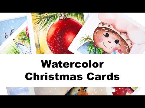 More Christmas Cards Watercolor Painting Tutorials