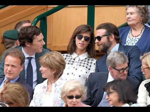Sophie Hunter chatting with Bradley Cooper at Wimbledon Men's Finals 2016