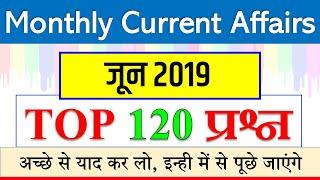 june monthly current affairs 2019 / जून की महत्वपूर्ण करेंट अफेयर्स / railway NTPC JE NDA SSC CHSL