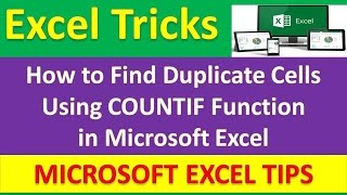 How to Find Duplicate Cells Using COUNTIF Function in Microsoft Excel [Urdu / Hindi]